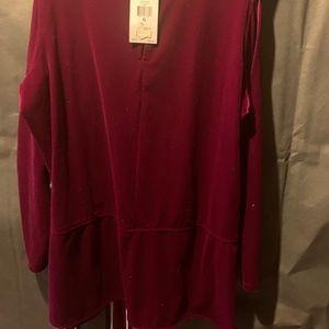 Lauren Ralph Lauren Tops - Cold shoulder purple/burgundy cold shoulder velour